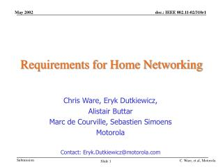 Requirements for Home Networking