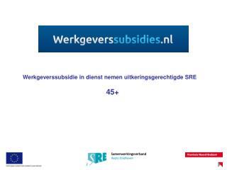 Werkgeverssubsidie in dienst nemen uitkeringsgerechtigde SRE 45+