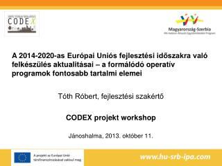 Tóth Róbert, fejlesztési szakértő CODEX projekt workshop Jánoshalma, 2013. október 11.