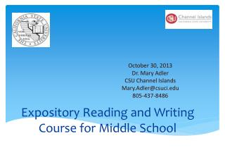 Expository Reading and Writing Course for Middle School