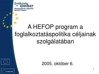 A HEFOP program a foglalkoztatáspolitika céljainak szolgálatában
