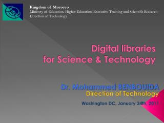 Digital  libraries for Science &  Technology