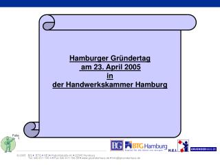 Hamburger Gründertag  am 23. April 2005 in der Handwerkskammer Hamburg