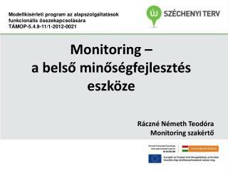 Monitoring –  a belső minőségfejlesztés eszköze Ráczné Németh Teodóra Monitoring szakértő