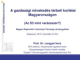 Prof. Dr. Lengyel Imre MTA doktora, intézetvezető egyetemi tanár