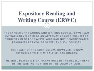 Expository Reading and  Writing Course (ERWC)
