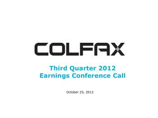 Third Quarter 2012  Earnings Conference Call