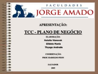 APRESENTAÇÃO: TCC - PLANO DE NEGÓCIO ELABORAÇÃO: Natalia Visnevsk  Gildete Muniz   Thyago Andrade