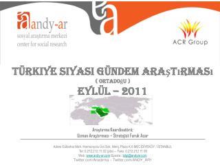 Türkiye Siyasi Gündem Araştırması ( Ortadoğu ) EYLÜL – 2011 Araştırma Koordinatörü;