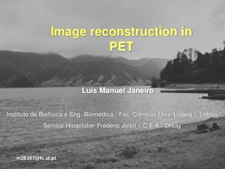 Image reconstruction in PET