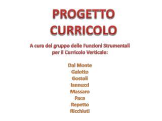 PROGETTO CURRICOLO