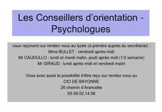 Les Conseillers d'orientation -Psychologues
