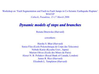 Workshop on 'Fault Segmentation and Fault-to-Fault Jumps in Co-Seismic Earthquake Rupture' WGCEP