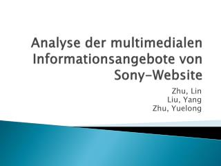 Analyse  der multimedialen Informationsangebote von Sony-Website