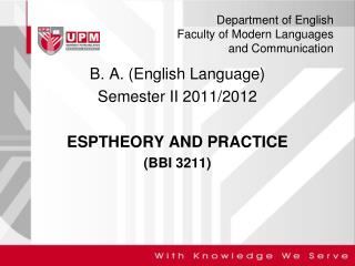 Department of English Faculty of Modern Languages  and Communication