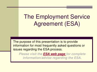 The Employment Service Agreement (ESA)