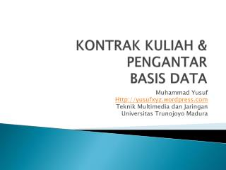 KONTRAK KULIAH & PENGANTAR  BASIS DATA