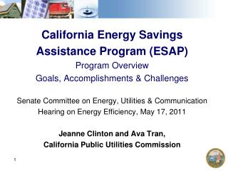 California Energy Savings  Assistance Program (ESAP) Program Overview