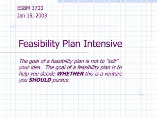 Feasibility Plan Intensive