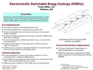 Electronically Switchable Bragg Gratings (ESBGs)  Foster-Miller, Inc. Waltham, MA
