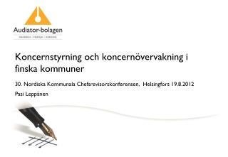 Koncernstyrning och koncernövervakning i finska kommuner