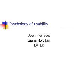 Psychology of usability