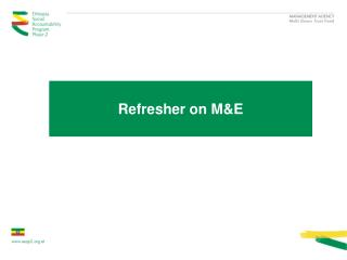 Refresher on M&E