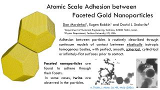 Atomic Scale Adhesion between     	     Faceted Gold Nanoparticles