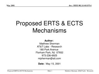 Proposed ERTS & ECTS Mechanisms