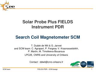 Solar Probe Plus FIELDS Instrument PDR Search Coil Magnetometer SCM
