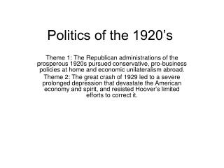 Politics of the 1920's