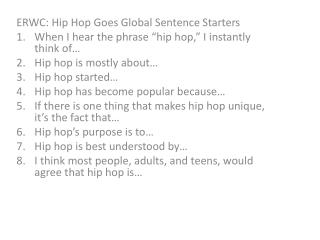 ERWC: Hip Hop Goes Global Sentence Starters