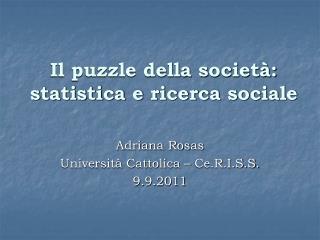 Il puzzle della società: statistica e ricerca sociale