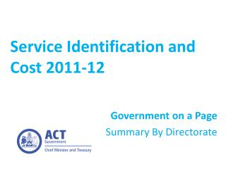 Service Identification and Cost 2011-12