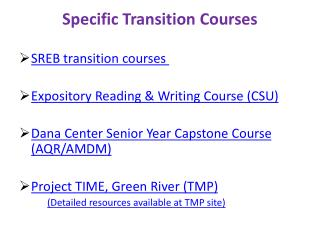 Specific Transition Courses