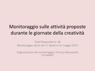 Monitoraggio sulle attività proposte durante le giornate della creatività