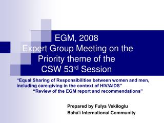 EGM, 2008  Expert Group Meeting on the Priority theme of the  CSW 53 rd  Session