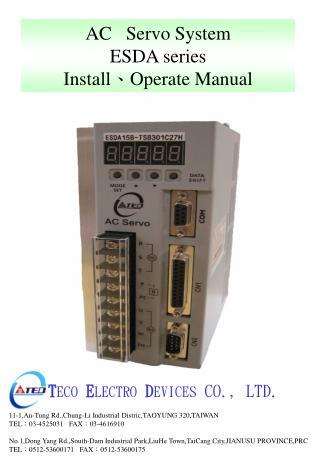 AC   Servo System ESDA series Install 、 Operate Manual