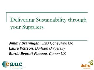Delivering Sustainability through your Suppliers