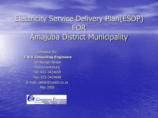 Electricity Service Delivery Plan(ESDP) FOR Amajuba District Municipality