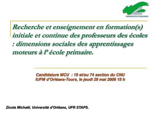 Zicola Michaël, Université d'Orléans, UFR STAPS.