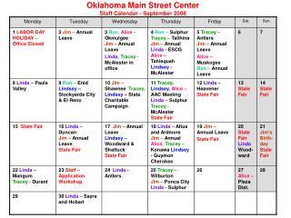 Oklahoma Main Street Center  Staff Calendar - September 2008