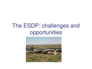 The ESDP: challenges and opportunities