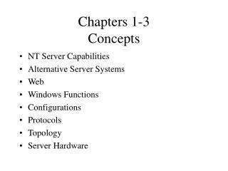 Chapters 1-3 Concepts