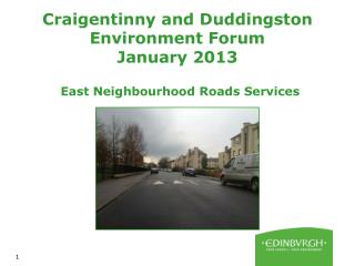 Craigentinny and Duddingston Environment Forum January 2013