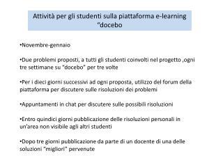 """Attività per gli studenti sulla piattaforma e-learning """" docebo"""