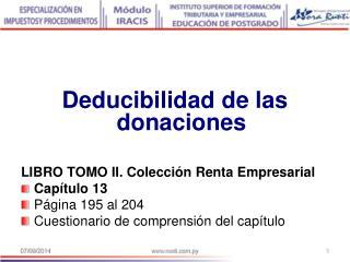 Deducibilidad de las donaciones LIBRO TOMO II. Colección Renta Empresarial Capítulo 13