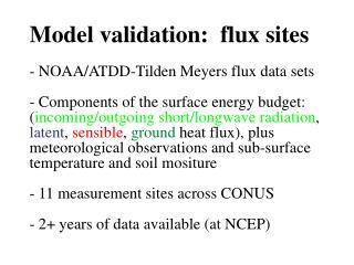 Model validation:  flux sites