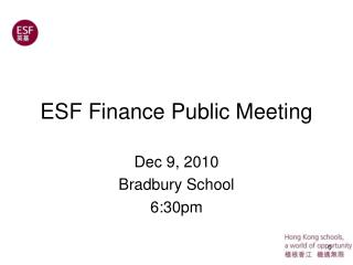 ESF Finance Public Meeting