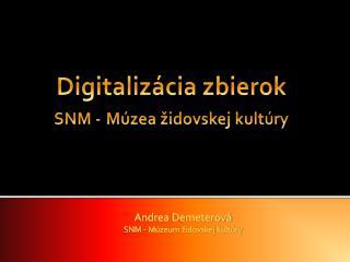 Digitalizácia zbierok  SNM - Múzea židovskej kultúry